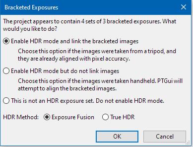 PTGui Pro выбор варианта HDR
