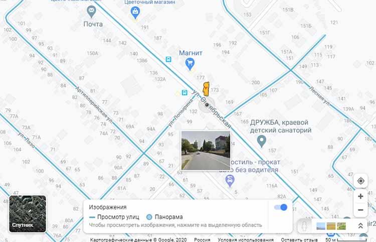 Панорамы улиц на Google Карте