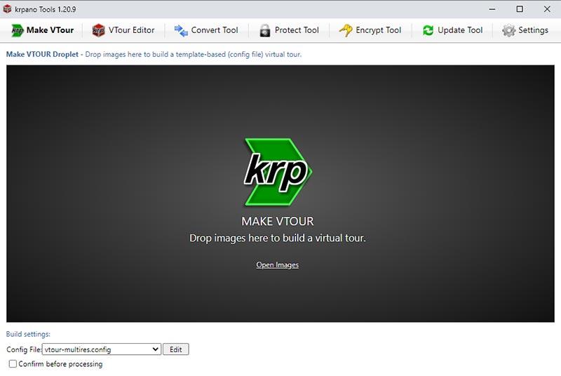 Интерфейс программы krpano Tools